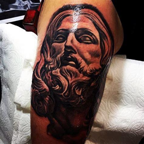 jesus tattoo on his thigh 100 jesus tattoos for men cool savior ink design ideas