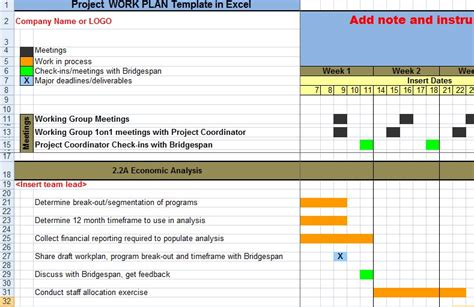 work plan template xls project work plan template in excel xls exceltemple