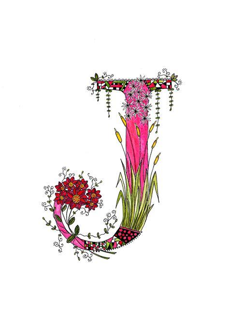 Floral J floral botanical letter j a4 print nursery monogram