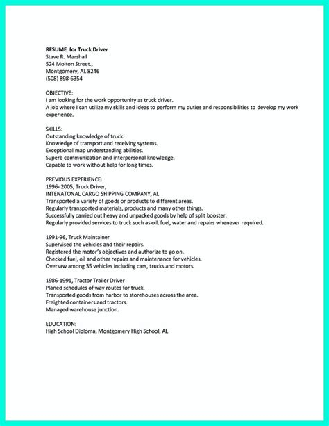 driver resume objective exles simple but serious mistake in cdl driver resume