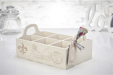 vintage shabby chic wooden organiser compartment box