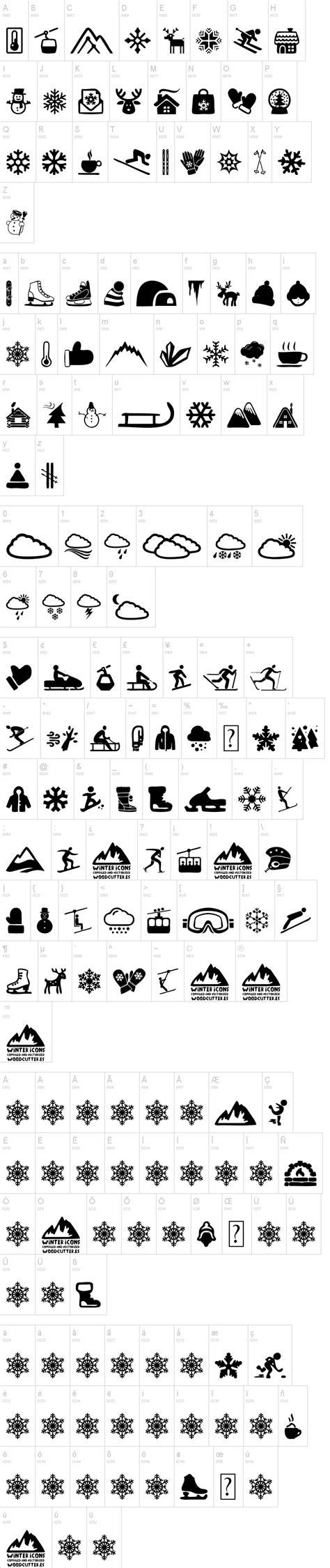 dafont winter winter icons font dafont com