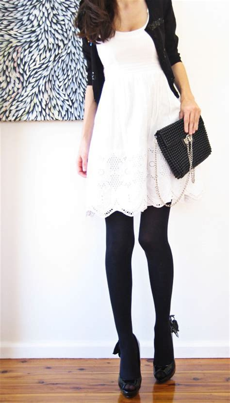 a ambition white dress black tights