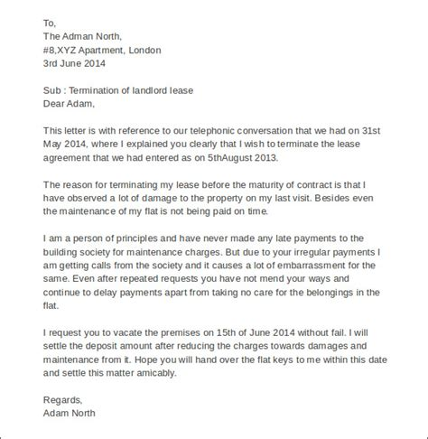 Rental Termination Letter By Landlord Sle Termination Letters 9 Landlord Lease Termination