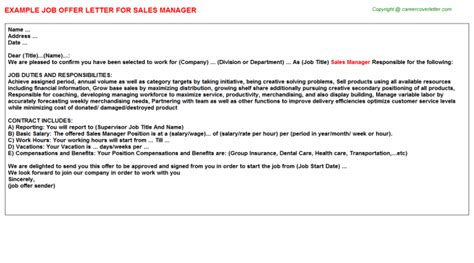 Offer Letter Sle For Sales Manager Sales Manager Offer Letters