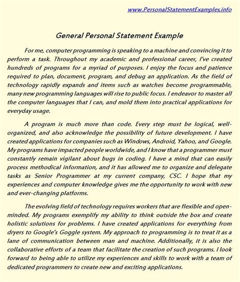 personal commitment statement exles cover letter pin by personal statement sle on personal statement