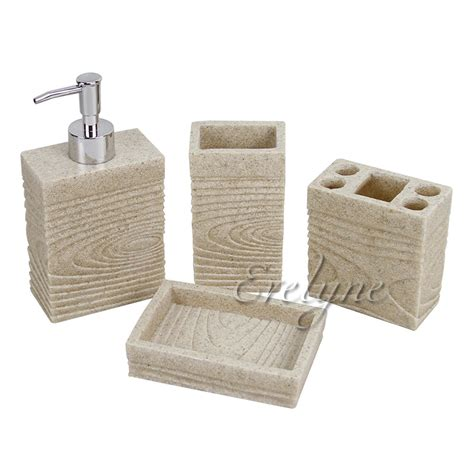 Sandstone Bathroom Accessories Resin Sandstone Bathroom Accessory Set Dispenser Soap Tray Toothbrush Holder Ebay