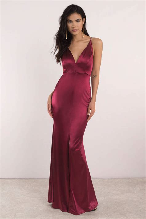 Dress Alaer Maroon Lg selena burgundy plunging maxi dress s 128 tobi sg