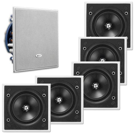 Kef Ci130qs 100w Square Ceiling 5 X Bundle Kef Ci130qs Uni Q Speaker Square In Wall Ceiling