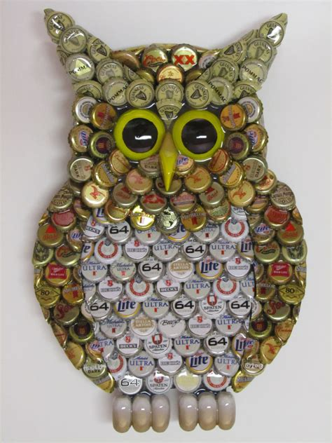 Littlest Pet Shop Wall Stickers owl wall art with metal bottle cap owl sculpture with mixed
