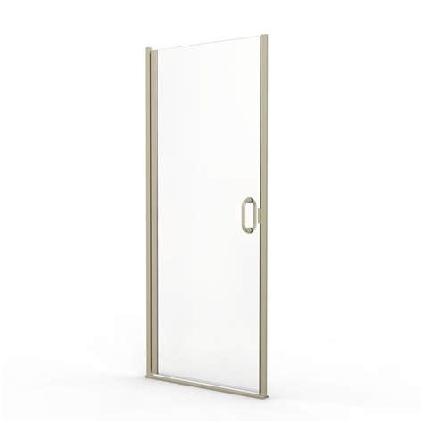 Basco Infinity Shower Door Basco Infinity 28 In X 76 In Semi Frameless Hinge Shower Door In Brushed Nickel With