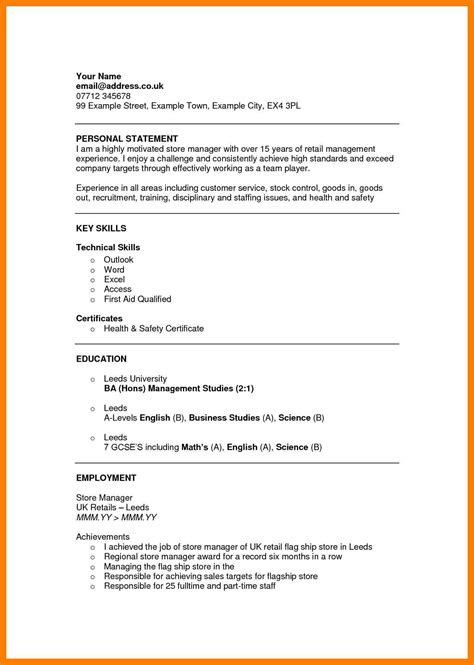 sle resume template retail 9 personal statement cv by designs