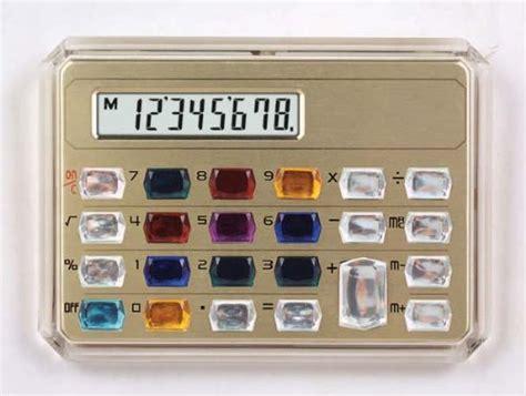 gemstone pocket calculator in gold shop selling items