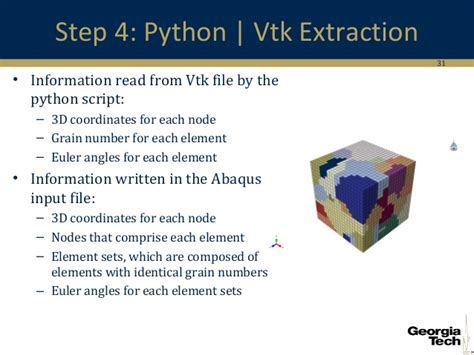 python tutorial vtk dream3d and its extension to abaqus input files