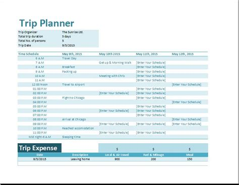 planning a trip template vacation planner excel calendar template 2016