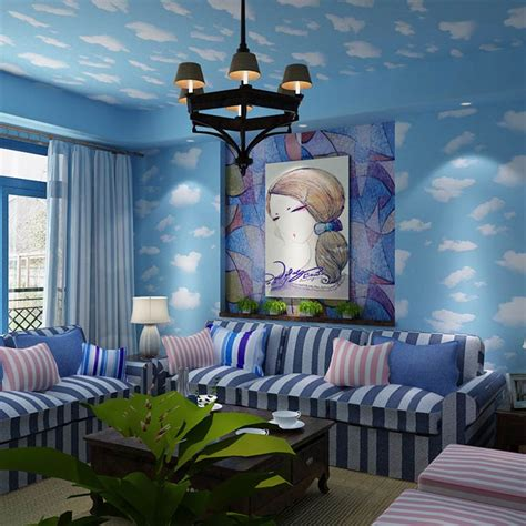 cartoon bedroom wallpaper kid cartoon room wallpaper blue sky white clouds children bedroom ceiling background