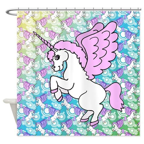 unicorn shower curtain unicorn rainbow pattern shower curtain by ironydesign
