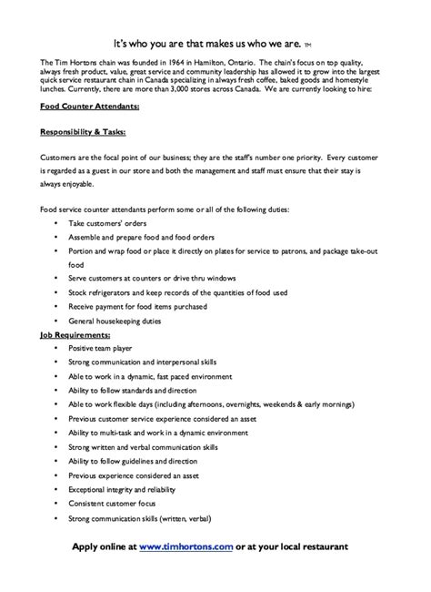 resume for tim hortons job sle resume ideas