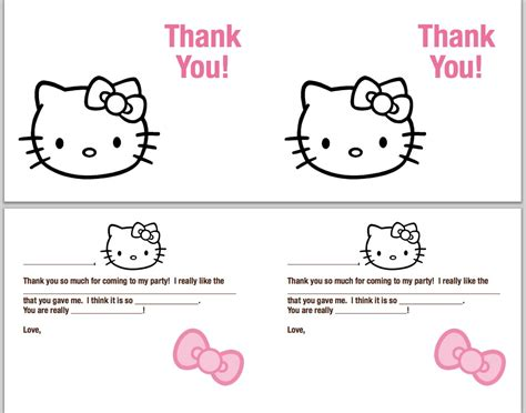 thank you cards printable and free hello kitty thank you cards printable free