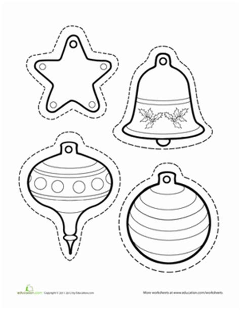christmas ornament outlines printable paper ornaments worksheet education