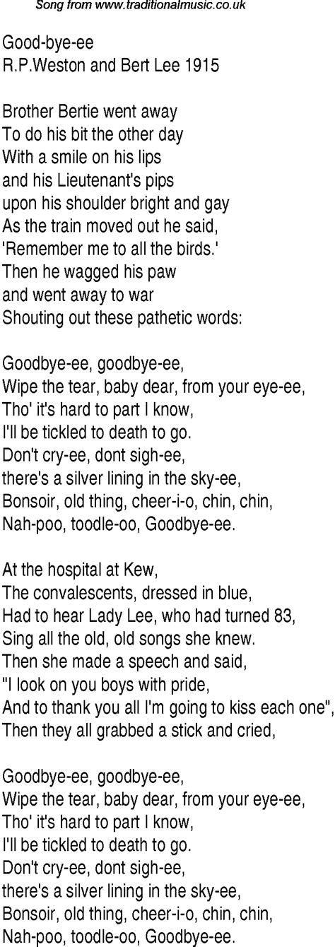the song lyrics 1940s top songs lyrics for bye ee