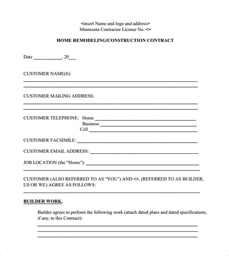 remodeling contract template 8 free documents