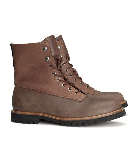 m s mens boots h m hiking boots in brown for lyst