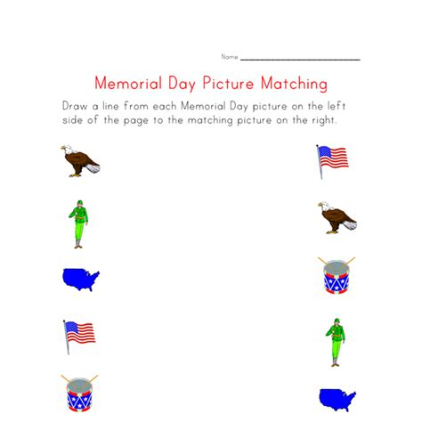 printable memorial day matching worksheet all kids network