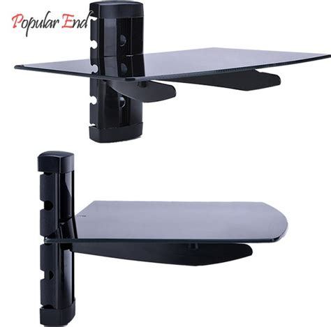 Tv Mount With Shelf For Cable Box by 1 Tier Glass Shelf Tv Wall Mount Bracket Tv