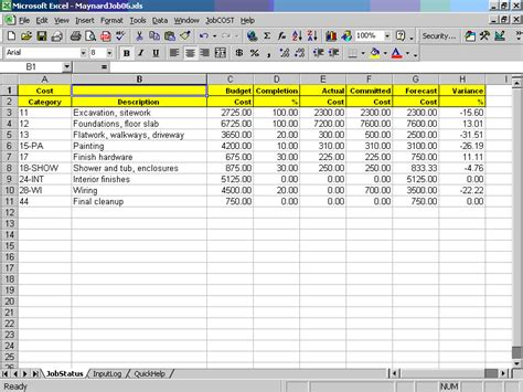Job Cost Controller Spreadsheet For Excel Labor Cost Template Excel