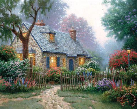 thomas kinkade foxglove cottage painting foxglove