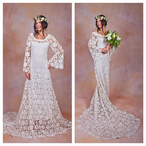 Brautkleider 80er Stil by 70s Style Lace Bohemian Wedding Dress Ivory Or White Crochet