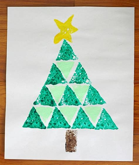 how to shape a christmas tree tree crafts shape tree sponge painting buggy and buddy