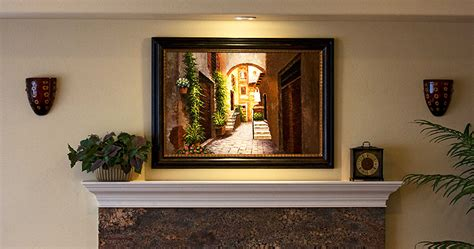 Livingroom Ideas Frameco Framed Painting Over Fireplace Frameco