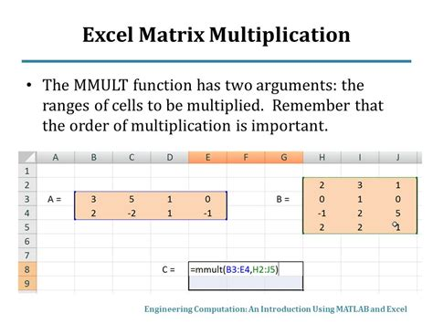 matrix mathematics in matlab and excel ppt video online
