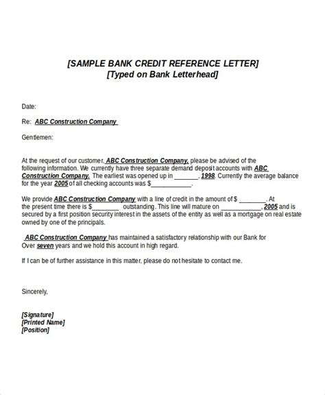 Business Reference Letter To Bank professional reference letter for bank account opening