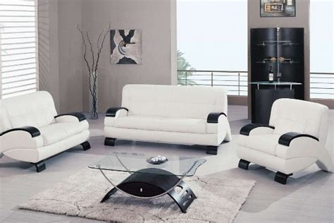 modern white living room furniture with glass table
