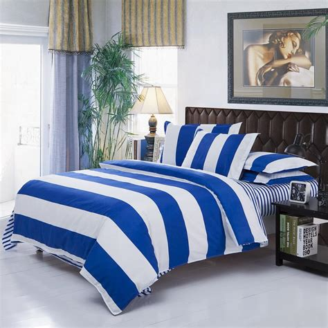 full size comforter cover modern simple white blue stripe bedding sets bedding
