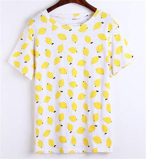 Print Fruit T Shirt fashion t shirt for 2015 summer yellow fruit