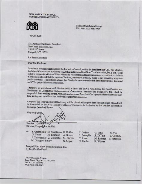 Disqualification Letter New York Insulation Letter Of Disqualification Sca