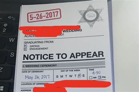 Wedding Invitation Notice by Notice To Appear Wedding Invitation Goes Viral Are