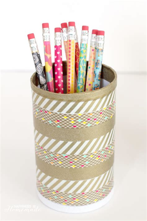 pencil holder for student desk washi tape pencils and desk cup happiness is homemade