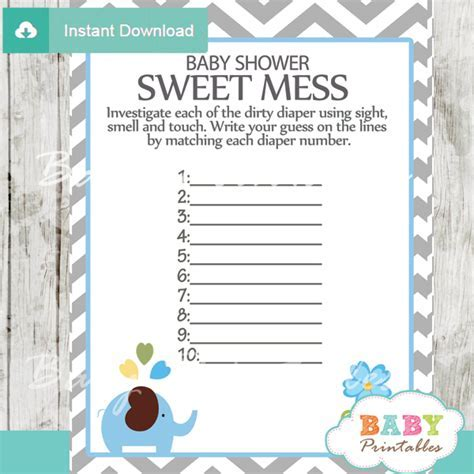 Blue Elephant Baby Shower Games Bundle   D105   Baby Printables