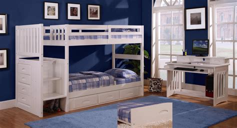 Bunk Bed Bedroom Set Discovery World Furniture White Staircase Bunk Bed Set With 5 Drawer Chest Desk