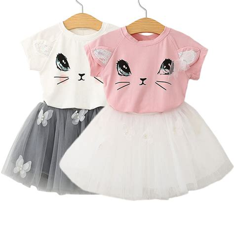 Cat Set T Shirt And Dress 2017 2pcs baby clothes cat print t shirt tops tutu skirt dress clothes set in