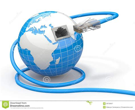 Wrench Light Global Communication Earth And Cable Rj45 Royalty Free