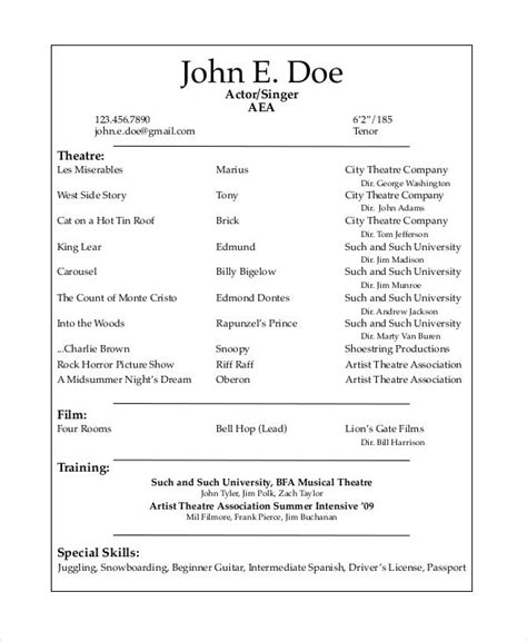 Sle Musical Theatre Resume Musical Theatre Resume Template The General Format And