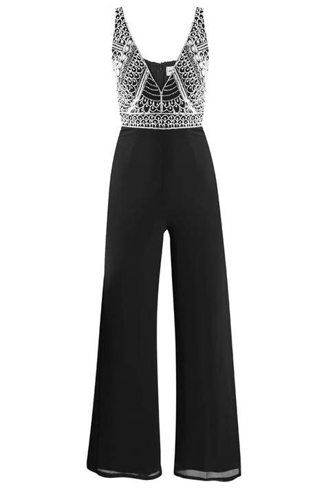 lace beads teardrop black jumpsuits party jumpsuits