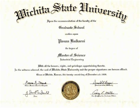 Wichita State Mba Program by Masters Degree Certificate
