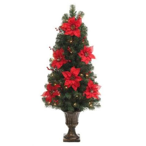 Poinsettia Tree Lights 4 Ft Poinsettia And Berry Potted Artificial Christmas